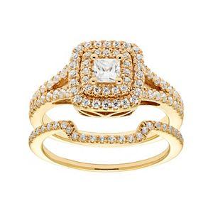 14k Gold 1 Carat T.W. IGL Certified Diamond Square Halo Engagement Ring Set