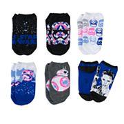 Girls 4-12 Star Wars Stormtrooper, BB-8 & Rey 6 pkNo-Show Socks