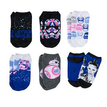 Girls 4-12 Star Wars Stormtrooper, BB-8 & Rey 6-pk. No-Show Socks