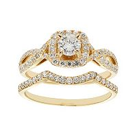 14k Gold 1 Carat T.W. IGL Certified Diamond Tiered Halo Engagement Ring Set