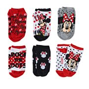 Disney's Minnie Mouse 'Rock the Dots' Girls 4-12 6 pkNo-Show Socks