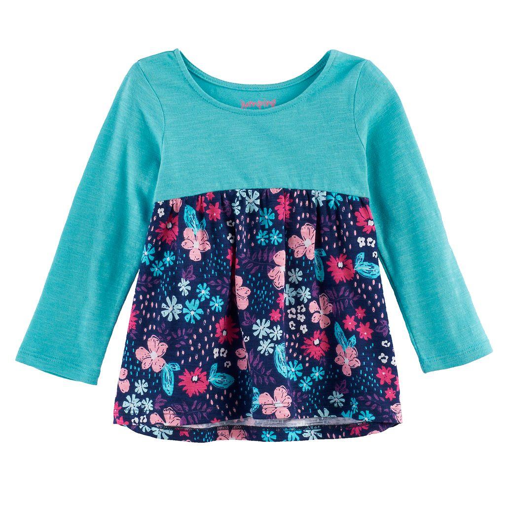 Baby Girl Jumping Beans® Print Long-Sleeve Babydoll Tunic