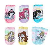 Disney Princess Girls 4-12 6 pkNo-Show Socks