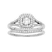 10k Gold 1/2 Carat T.W. Diamond Cushion Halo Engagement Ring Set
