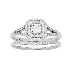 10k Gold 1/2 Carat T.W. Diamond Cushion Halo Engagement Ring Set