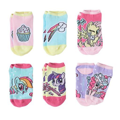 Girls 4-12 My Little Pony Fluttershy, Rainbow Dash, Twilight Sparkle & Pinkie Pie 6-pk. No-Show Socks