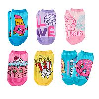 Girls 4-12 Shopkins 6 pkNo-Show Socks