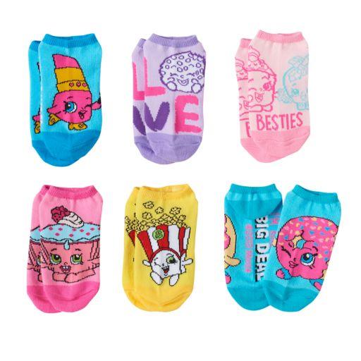 Girls 4-12 Shopkins 6-pk. No-Show Socks