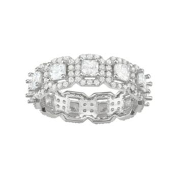 Journee Collection Sterling Silver Cubic Zirconia Halo Eternity Anniversary Ring