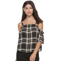 Juniors' Candie's® Plaid Off the Shoulder Top