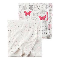 Baby Girl Carter's Heart & Animal 2 pkSwaddles
