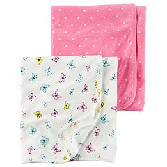 Baby Girl Carter's Butterfly & Polka-Dot 2-pk. Swaddles