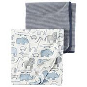 Baby Boy Carter's Animal & Stripes 2 pkSwaddles