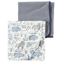 Baby Boy Carter's Animal & Stripes 2-pk. Swaddles