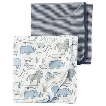 Baby Boy Carter's Animal & Stripes 2-pk. Swaddles