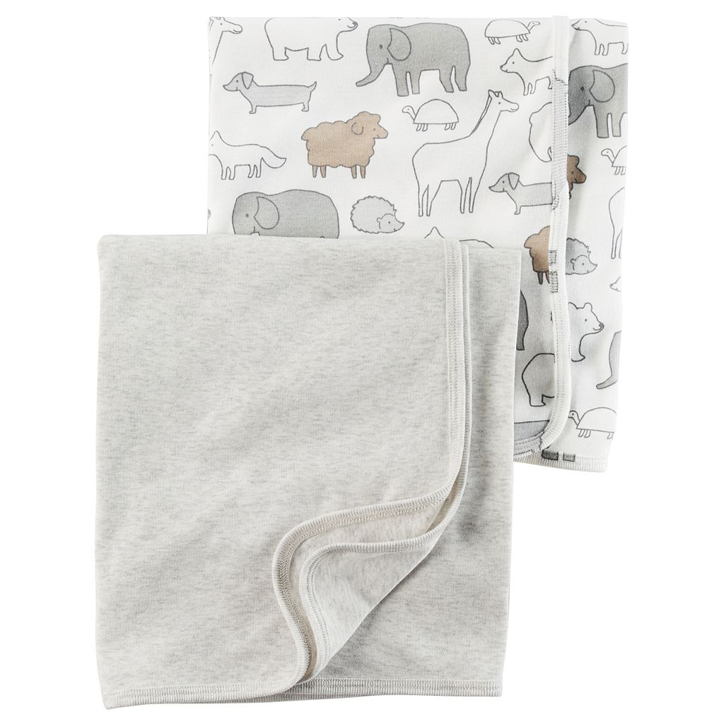 Baby Carter's 2-pk. Animal & Solid Babysoft Swaddle Blankets