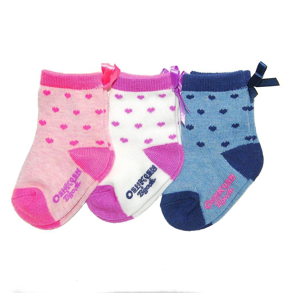 Baby Girl / Toddler Girl OshKosh B'gosh® 3-pk. Heart & Ribbon Crew Socks