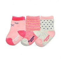 Baby Girl / Toddler Girl OshKosh B'gosh® 3-pk. Cat Face & Stripes Crew Socks