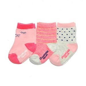 Girls 4-7 OshKosh B'gosh® 3-pk. Cat Face & Stripes Crew Socks