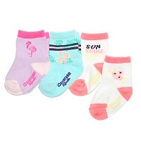 Girls 4-7 OshKosh B'gosh® 3-pk. Flamingo & Floral Crew Socks