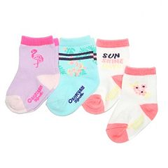 Girls 4-7 OshKosh B'gosh® 3 pkFlamingo & Floral Crew Socks