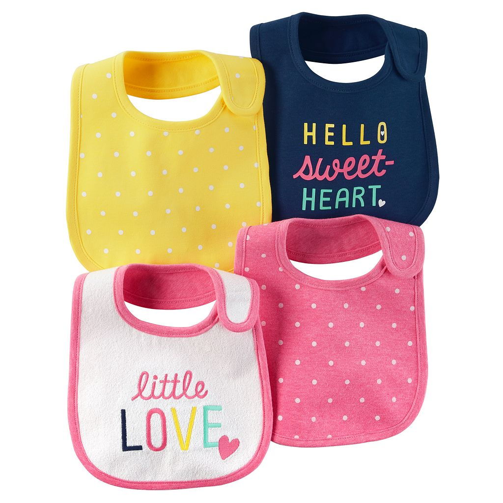 Baby Girl Carter's 4-pk. Polka-Dot & Graphic Bibs