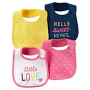 Baby Girl Carter's 4 pkPolka-Dot & Graphic Bibs