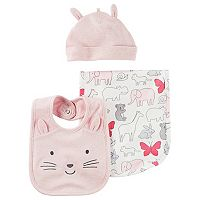 Baby Girl Carter's Animal Burp Cloth, Hat & Bib Set