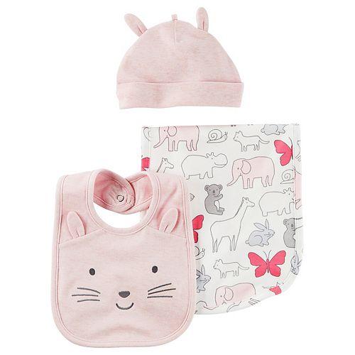 Baby Girl Carter's Animal Burp Cloth, Hat & Bib Set