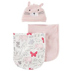 Baby Girl Carter's Animal Burp Cloth, Solid Burp Cloth & Hat Set