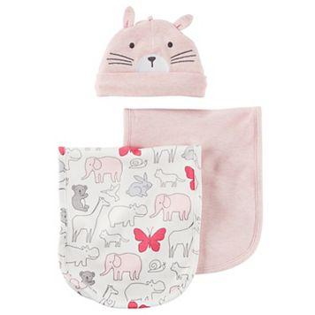 Baby Girl Carter's Animal Burp Cloth, Solid Burp Cloth & Hat Set