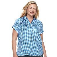 Juniors' Plus Size SO® Shirttail Chambray Shirt