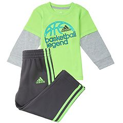 Baby Boy adidas 'Basketball Legend' Mock-Layered Tee & Pants Set