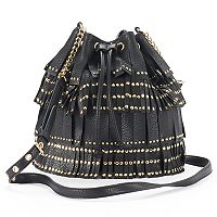 Juicy Couture Studded Fringe Drawstring Bucket Bag