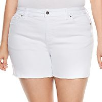 Plus Size Jennifer Lopez Raw-Edge Boyfriend Jean Shorts