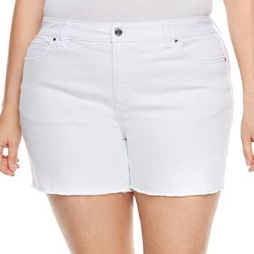 Plus Size Jennifer Lopez Raw-Edge Boyfriend Jean Shorts