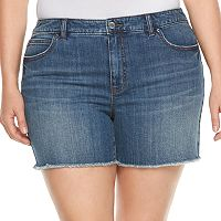 Plus Size Jennifer Lopez Frayed Jean Shorts