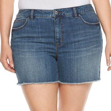 Plus Size Jennifer Lopez Frayed Jean Shorts