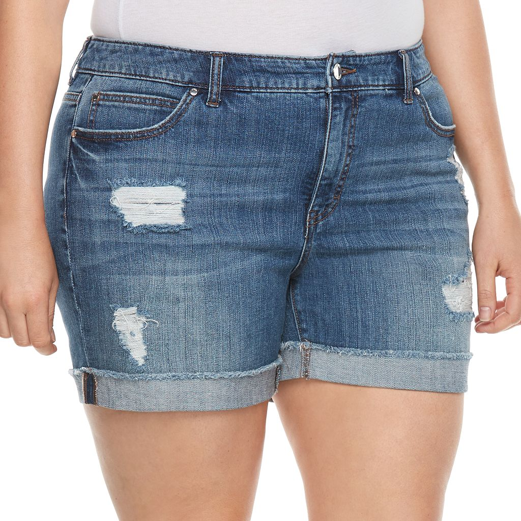 Plus Size Jennifer Lopez Rockin Cuffed Boyfriend Shorts