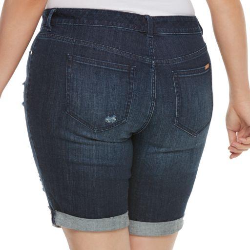 Plus Size Jennifer Lopez Destructed Jean Bermuda Shorts