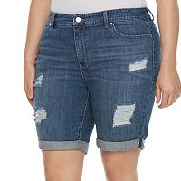 Plus Size Jennifer Lopez Destructed Jean Bermuda Shorts