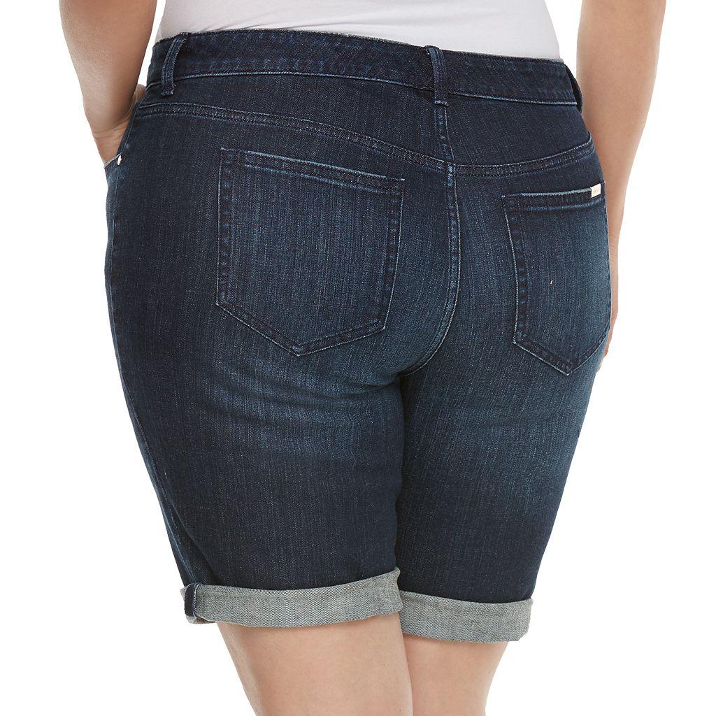 Plus Size Jennifer Lopez Roll-Cuff Bermuda Shorts