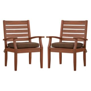HomeVance Glen View Brown Patio Arm Dining Chair 2-piece Set