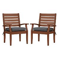 HomeVance Glen View Brown Patio Arm Dining Chair 2 pc Set