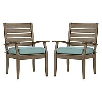HomeVance Glen View Gray Patio Arm Dining Chair 2-piece Set