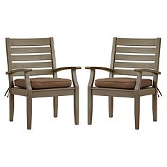HomeVance Glen View Gray Patio Arm Dining Chair 2 pc Set