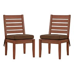 HomeVance Glen View Brown Patio Dining Chair 2-piece Set