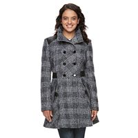 Women's LNR Fashion Styles Wool-Blend Faux-Leather Accent Peacoat