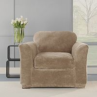 Sure Fit 2 pc Stretch Plush Chair Slipcover