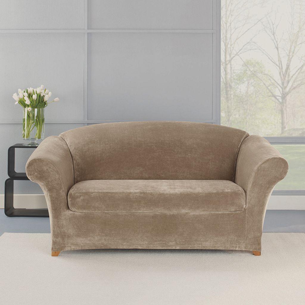 Sure Fit 2-piece Stretch Plush Loveseat Slipcover